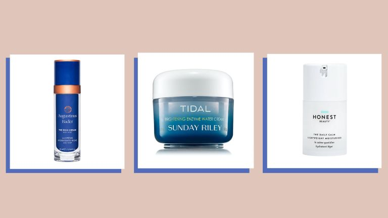 Three of the best face moisturizers on a putty colored background