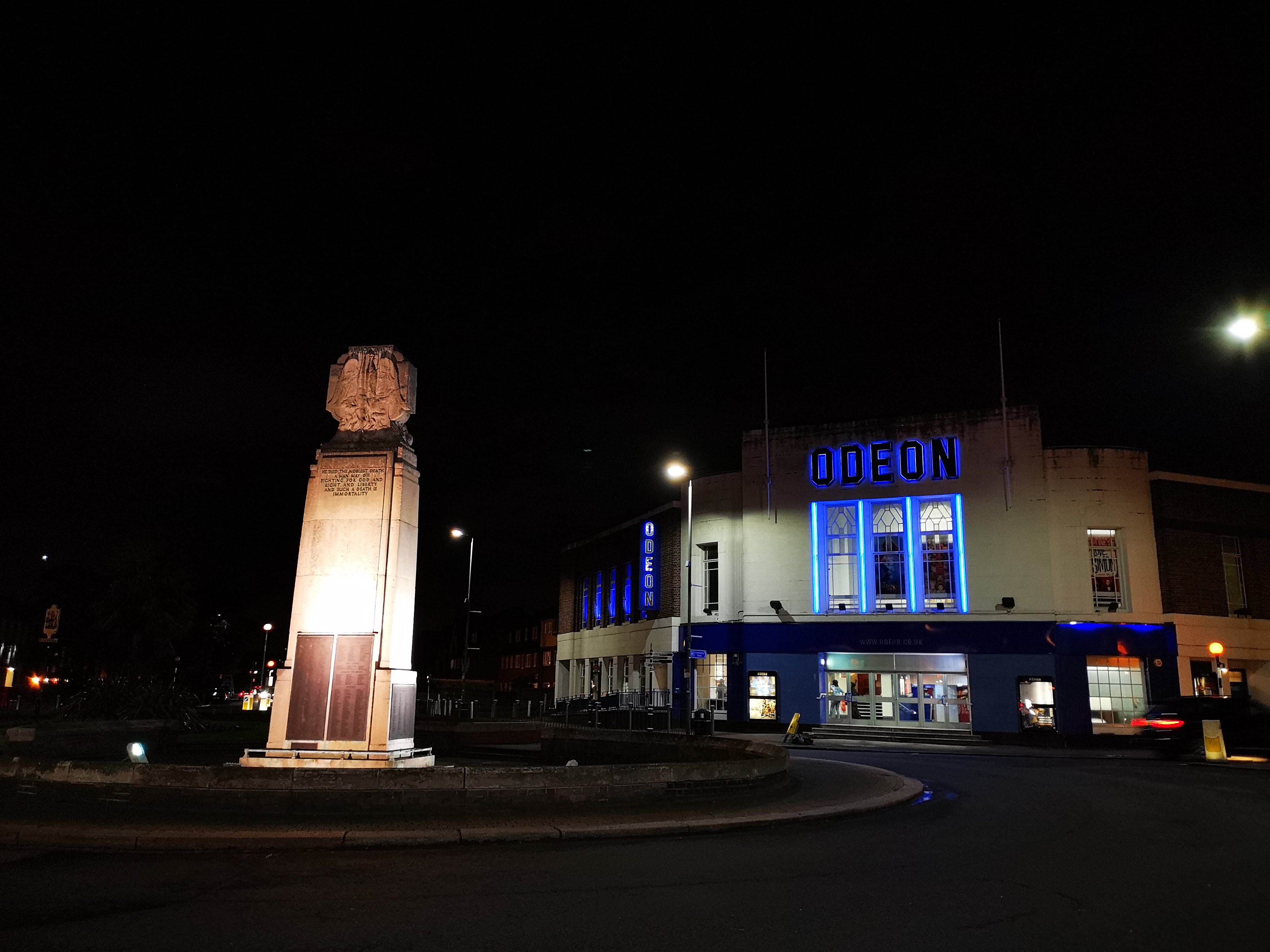 Here's a standard low-light shot of an Odeon cinema. It's reasonably sharp but doesn't obviously beat the best-in-class rivals.