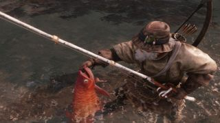 New World fisherman with red fish