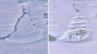 Two satellite images of the lake before (left) and after (right) its water vanished.