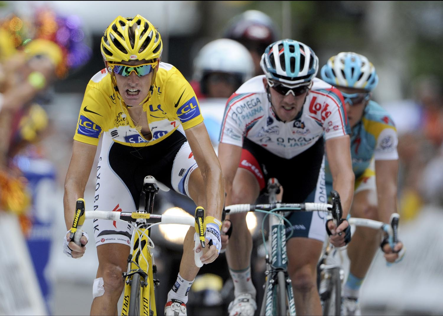 Andy Schleck finishes, Tour de France 2010, stage 15
