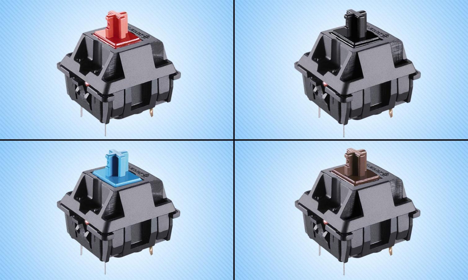 Interruptores MX desde la parte superior izquierda en el sentido de las agujas del reloj: Rojo, Negro, Marrón y Azul
