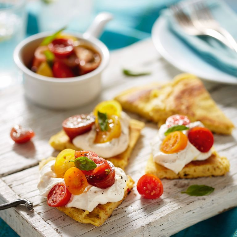 Chickpea Pancakes with Ricotta and Tomato