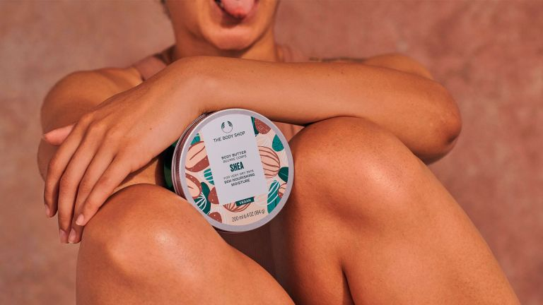 Model with The Body Shop Avocado Body Butter