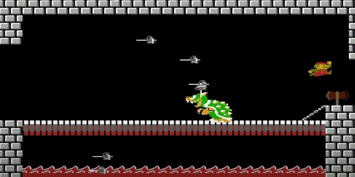 Mario defeating Bowswer in Super Mario Bros.