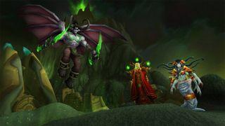 Three villains loom over a green hellscape