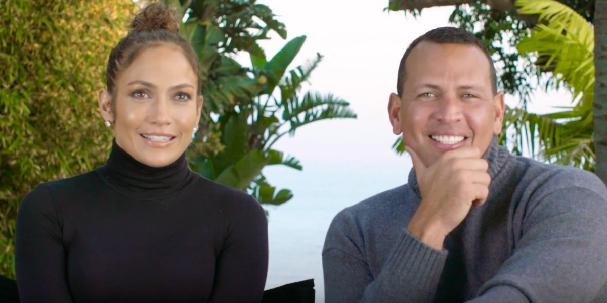 Jennifer Lopez and Alex Rodriguez smile during interview