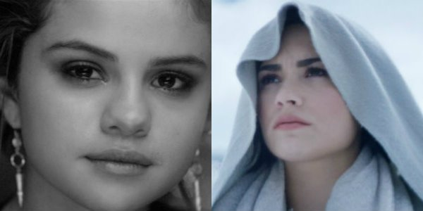 "Selena Gomez """"The Heart Wants What It Wants"" Music Video/ Demi Lovato ""Stone Cold"" Music Video"