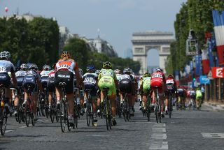 in action during 'La Course by Le Tour de France' on July 27, 2014 in Paris, France. In this historic first edition of the event, female professional riders will race 90km on Champs Elysees prior to the arrival of the Men's Tour de France final stage.