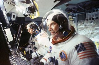"""Ted Levine (right) and Gary Cole portray Apollo 14 crewmates Alan Shepard and Ed Mitchell in HBO's """"From the Earth to the Moon."""" The 12-part miniseries has been digitally remastered for the 50th anniversary of the first moon landing in July."""