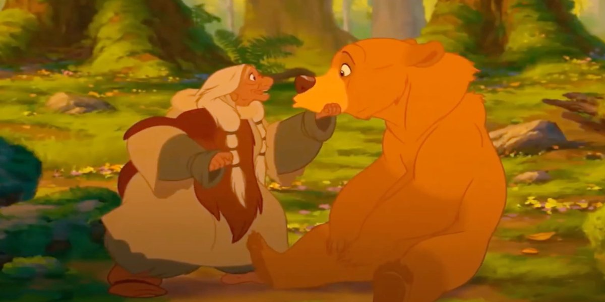 Kenai after being transformed to a bear in Brother Bear