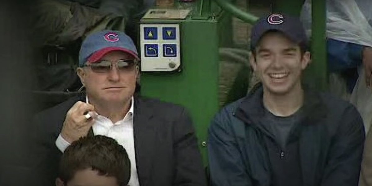Lorne Michaels and John Mulaney at a Chicago Cubs game