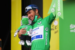 Mark Cavendish on the podium of the Tour de France after stage 10