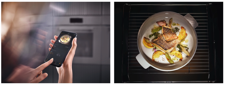 smart oven which connects to a smart phone in a black kitchen
