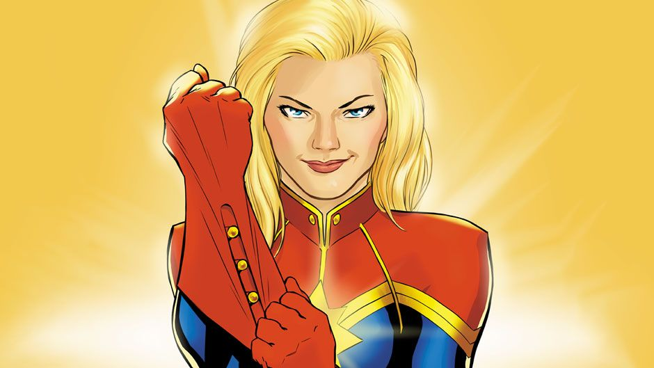 Captain Marvel's Brie Larson schools up on the comic book dressed as Carol Danvers