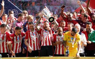 Brentford celebrating promotion at Wembley