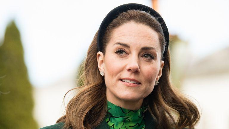 Catherine, Duchess of Cambridge walks in the gardens during a meeting at Áras an Uachtaráin on March 03, 2020 in Dublin, Ireland