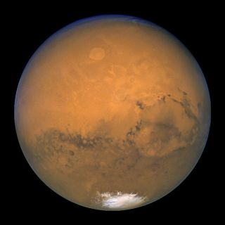 Mars as seen by the Hubble Space Telescope in August 2003.