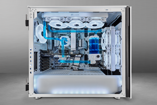 A PC being cooled with a custom CORSAIR solution.