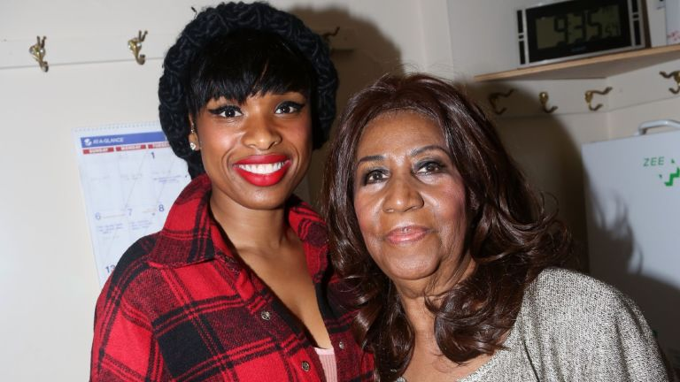 """Jennifer Hudson and Aretha Franklin pose backstage at the hit musical """"The Color Purple"""" on Broadway at The Jacobs Theater on December 15, 2015 in New York City."""