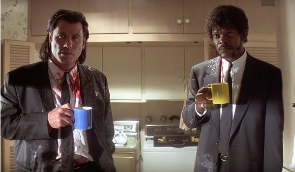 Pulp Fiction John Travolta Samuel L. Jackson bloody good coffee