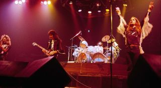 (left to right) Geezer Butler, Tony Iommi, Bill Ward and Ozzy Osbourne perform live at New York City's Madison Square Garden on December 6, 1976