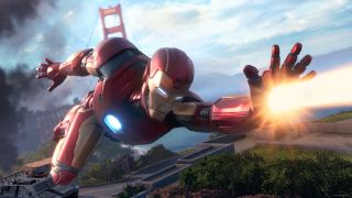 Iron Man flies with his hand outstretched, ready for battle