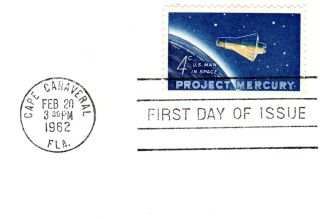 "The 1962 4-cent ""Project Mercury"" stamp marked the first time that the U.S. issued a previously unannounced commemorative stamp at the same time as the event it was issued to honor: John Glenn's historic Friendship 7 spaceflight."