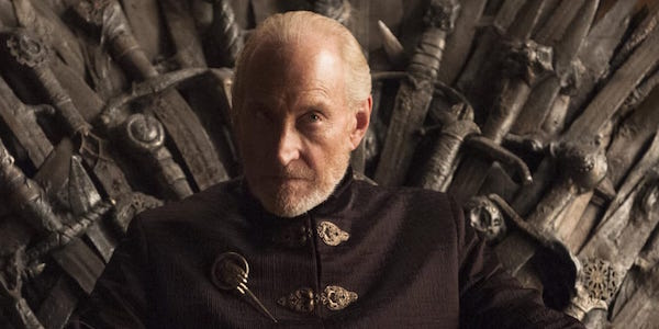 Tywin Lannister on the Iron Throne