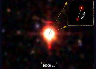 "This image shows both stars. ""AU"" means ""astronomical unit,"" referring to the distance between Earth and the sun."
