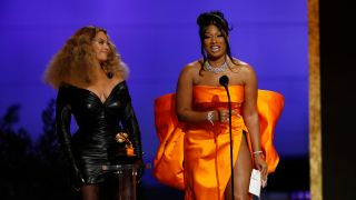 Beyoncé and Megan Thee Stallion win the award for Best Rap Song at the 63rd Annual Grammy Awards, broadcast live from the Staples Center in Los Angeles, Sunday, March 14, 2021 on the CBS Television Network and Paramount Plus.