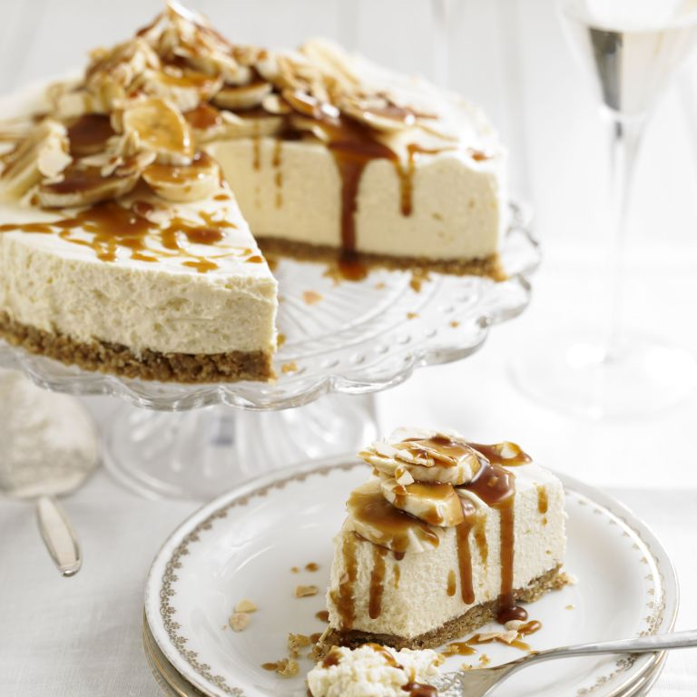 Mascarpone cheesecake with bananas and butterscotch sauce recipe-new recipes-woman and home