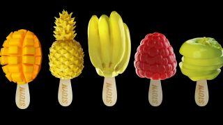 Stoyn Studio ice cream sculptures of a mango, raspberry, banana, pineapple and apple