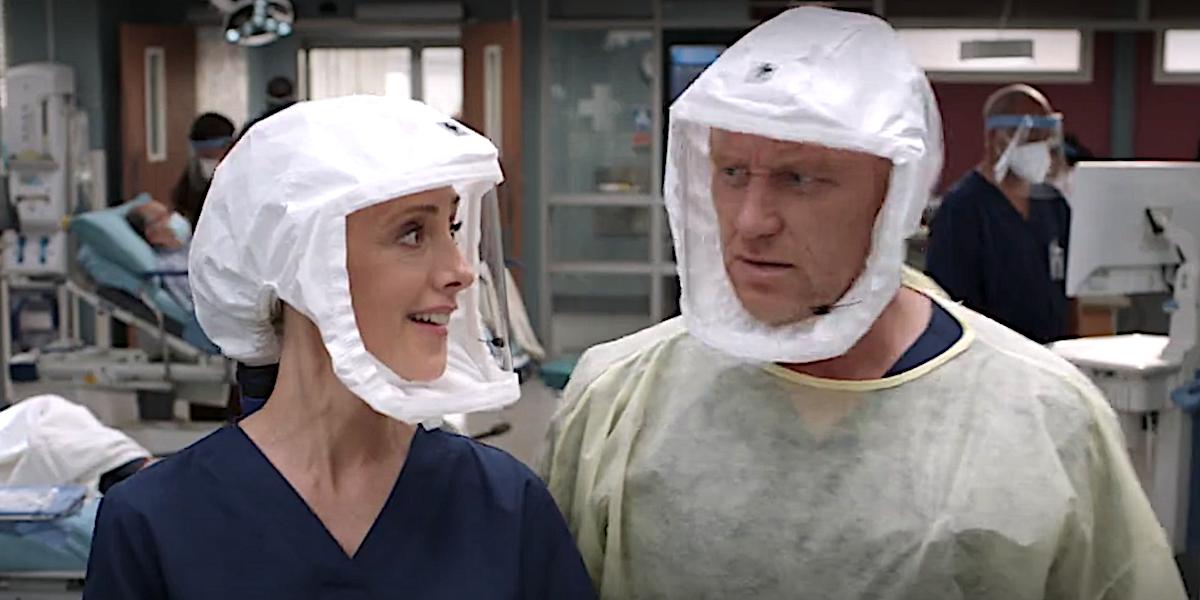 Grey's Anatomy Teddy Altman and Owen Hunt exchange a look in the hospital.
