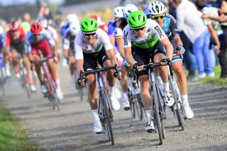 Lars Bak (left) in the thick of the action alongside Dimension Data teammate Julien Vermote at the 2019 Paris-Tours