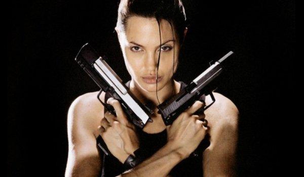 Lara Croft: Tomb Raider Angelina Jolie shows off dueling pistols