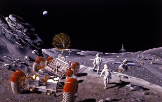 Artist's concept of a lunar base