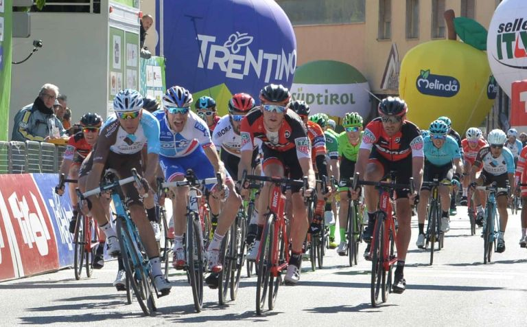 Matteo Matuigi takes victory ahead of Thibaut Pinot and Rohan Dennis (Credit: Tour of the Alps)
