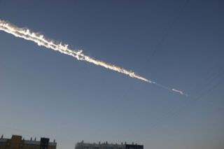streak from a fireball after a meteorite strikes russia