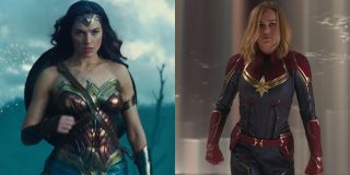 Gal Gadot as Wonder Woman and Brie Larson as Captain Marvel