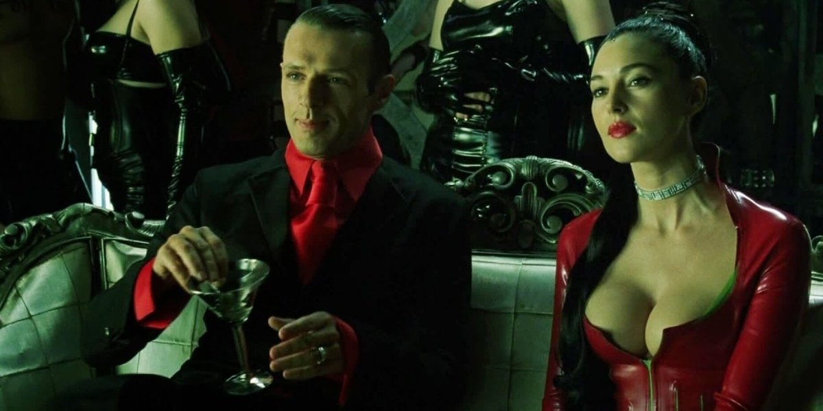 The Matrix Revolutions The Merovingian and Persephone having a drink at Club Hel