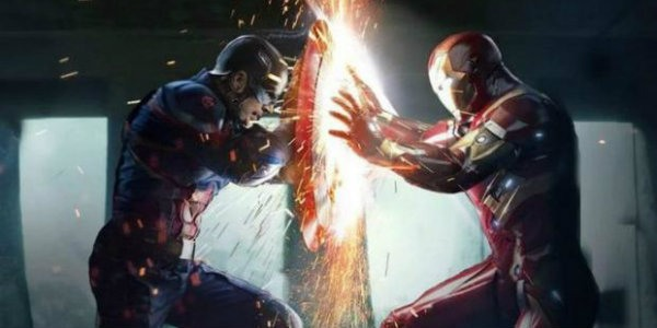 Cap and Iron Man fighting in Civil War