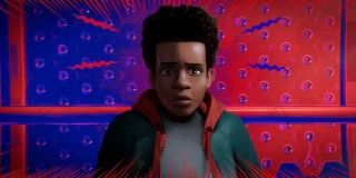 Shameik Moore as Miles Morales using his Spidey Senses in Spider-Man: Into the Spider-Verse