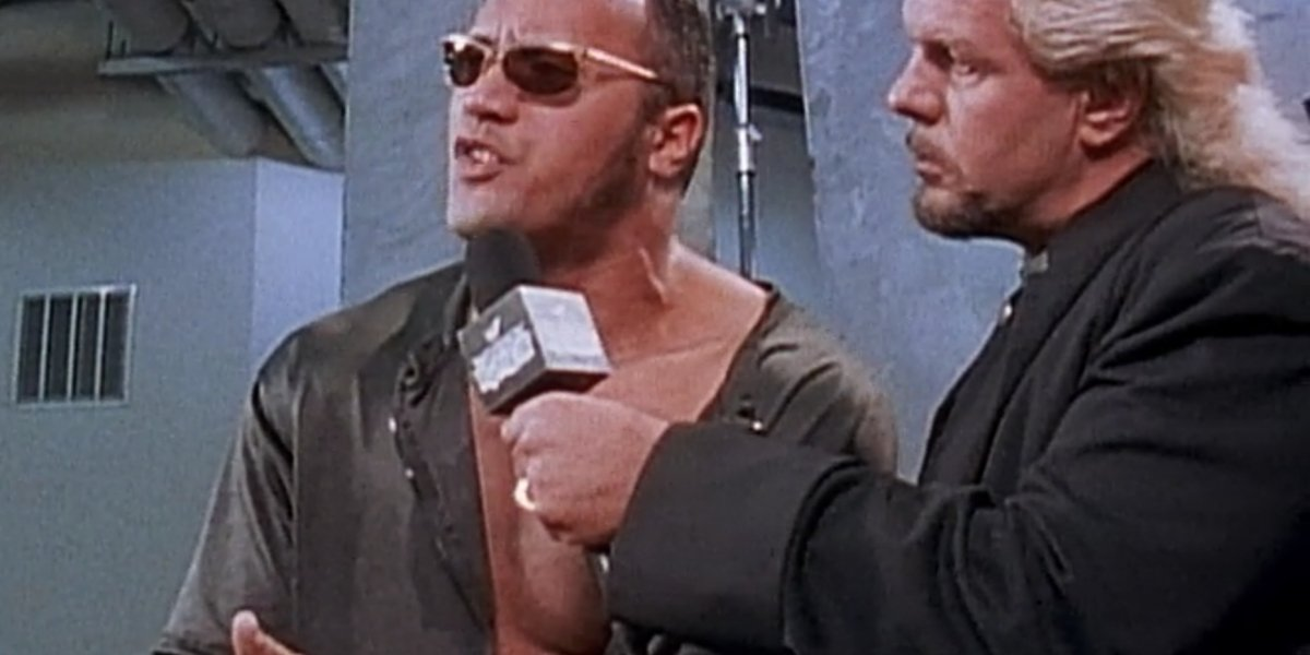 """Dwayne """"The Rock"""" Johnson and Michael P.S. Hayes in Beyond The Mat"""