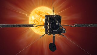 An artist's depiction of the joint NASA-European Space Agency Solar Orbiter at work studying the sun.
