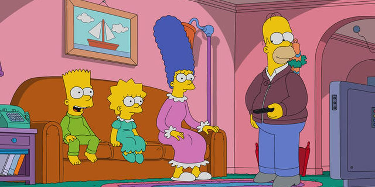 The cast of The Simpsons in their living room.