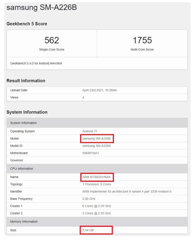 Samsung Galaxy A22 5G benchmarks