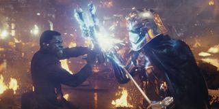 Finn battling Captain Phasma in The Last Jedi