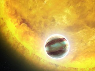 An artist's depiction of a hot Jupiter.