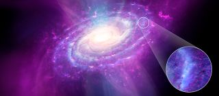 An artist's depiction of pristine gas (shown in magenta) in the Milky Way.